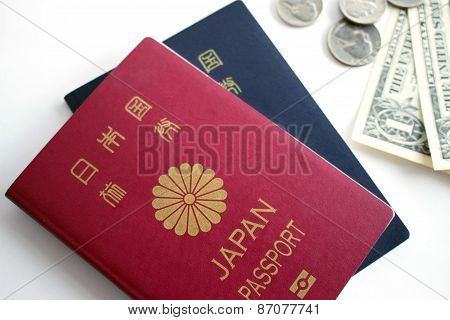 Japanese Passport And Coins