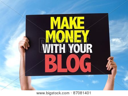 Make Money With Your Blog card with sky background