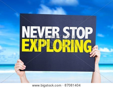 Never Stop Exploring card with beach background