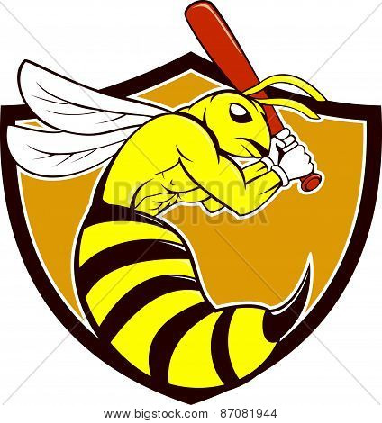 Killer Bee Baseball Player Crest Cartoon