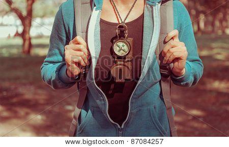 Traveler Girl With A Compass Outdoor