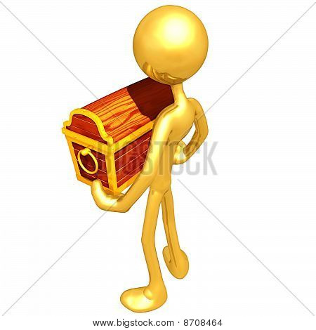 Gold Guy Holding A Treasure Chest