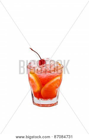 Planter's Punch Cocktail Isolation On White Background