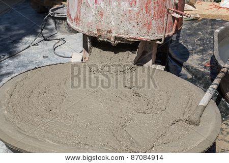 Wet Cement In Plastic Bucket
