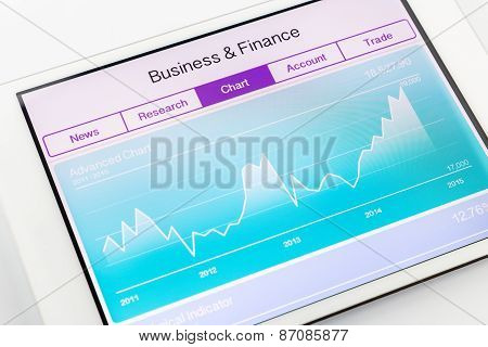 Computer Tablet Showing Chart Of Financial And Stock Market Data