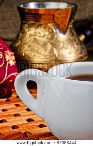 Cup Of Coffee On A Background Of Copper Turk