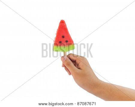 Hand Holding Ice Cream Watermelon Shape Isolated