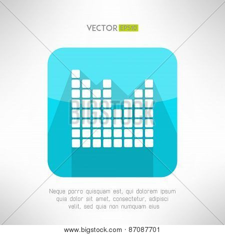 Musical equalizer icon in modern flat design. Sound symbol with long shadow. Vector illustration