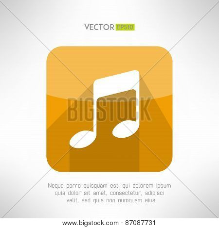 Music note icon in modern flat design. Radio station symbol. Vector illustration