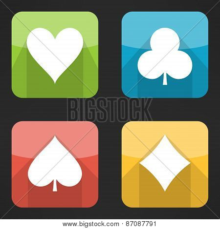 Bright playing cards suits icons set in modern flat design. Card symbols with long shadows. Vector i