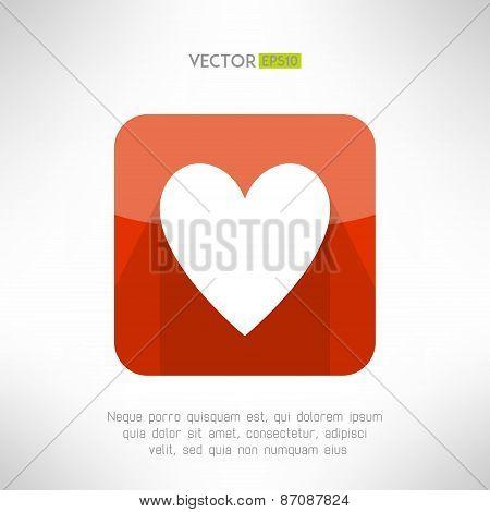 Red white heart icon in modern flat design. Social network like symbol. Vector illustration