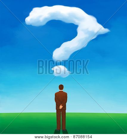 Back view of a man looking at a cloud like a question mark