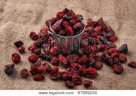 Dried rosehips on the sacking