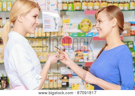 Making purchase in a drugstore