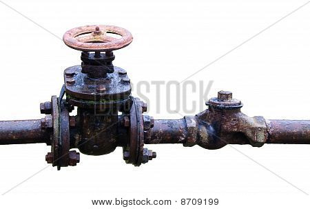 Old  Rusty Country Water Supply System Isolated Over White