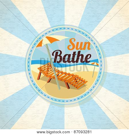 Summer sun bathe on the shore retro background