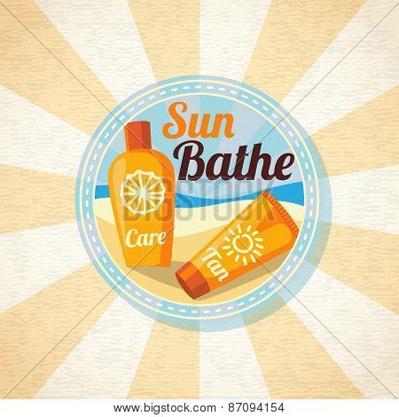 Sun care creams on the beach. Vector
