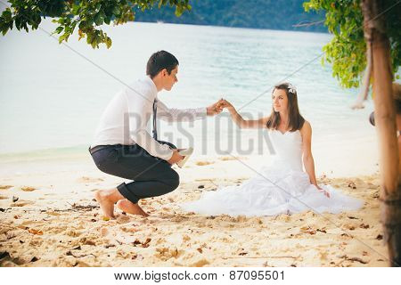 Young Bride And Groom On Island Sandy Beach