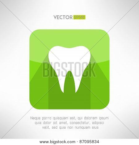 Tooth icon made in modern clean and simple flat design. Dental sign with long shadow. Vector illustr