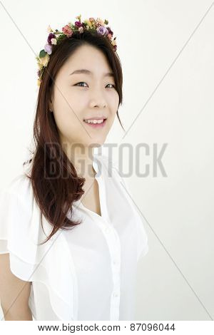 Beautiful asian woman with chaplet