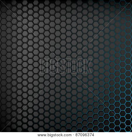 Dark background with blue backlight.