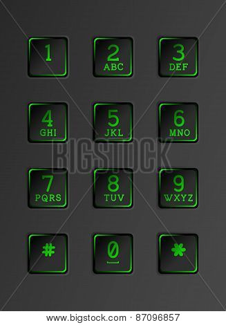 Security keyboard with neon lights.