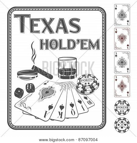 Texas Hold'em poker. Vector illustration.