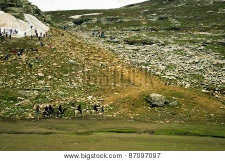Tourist at Rothang pass