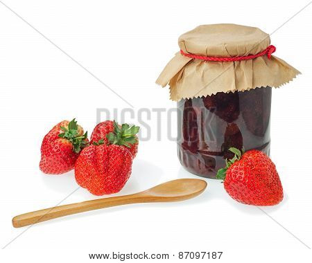 Glass Jar Of Strawberry Jam With Berries Isolated On White Background.