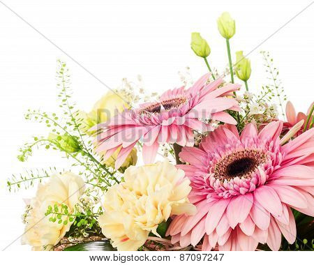 Fragment Of Bouquet From Gerbera And Carnations Isolated On White Background.