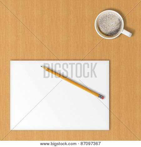 Sheet Of Office Paper, Yellow Pencil And Cup Of Coffee.