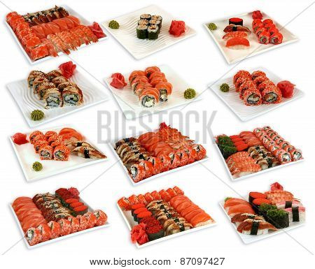 various japaneese cuisine meal sushi