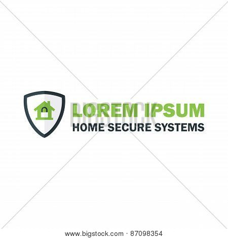 Green Home Security System Logo With Padlock