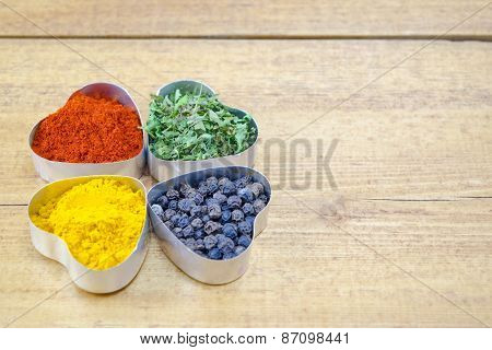 Black Pepper, Paprika, Curry And Basil