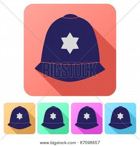 Set Flat icons of helmet metropolitan British police