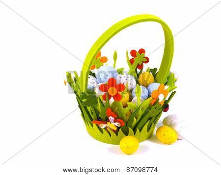 Decorated Easter basket with eggs