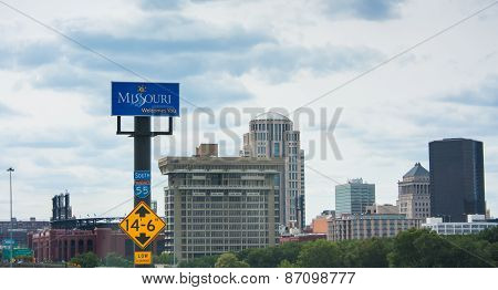 Missouri Welcomes You Sign Towering Above The Interstate