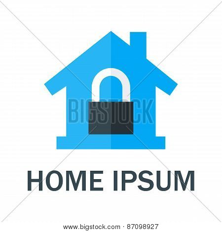 Home With Padlock Logo