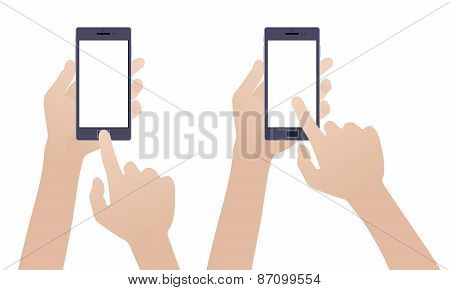 Hand holding black smartphone, touching blank white screen