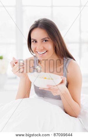Having A Breakfast In Bed.
