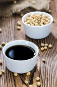 stock photo of close-up shot  - Soy Sauce in a bowl  - JPG