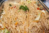 image of chinese restaurant  - Closeup of Pad Thai chinese meal on display at a hotel restaurant buffet - JPG