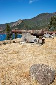 pic of off-shore  - Historic Spanish fort overlooking Cumberland Bay and the town of San Juan Bautista on Robinson Crusoe Island - JPG