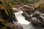 picture of cliffs  - two logs span the wild river gorge from cliff to cliff - JPG