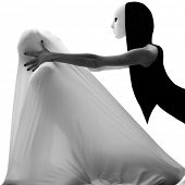 image of mime  - dancer performer mime with mask acting couple lovers conceptual in studio isolated on white background - JPG