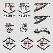 image of brass knuckles  - Vector illustration street fight emblem with brass knuckles and straight razor - JPG