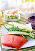 stock photo of redfish  - ingredient for sushi on the wooden table - JPG