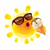 picture of hot-weather  - Summer sun holding an ice cream - JPG