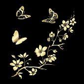 image of sakura  - Golden twig of sakura  and butterflies - JPG
