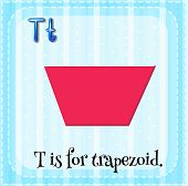 image of trapezoid  - Flashcard letter T is for trapezoid - JPG